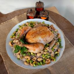 Riz Blahem (Spiced rice with minced meat w/ whole chicken)